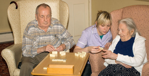 Palying Dominoes at Melbourne House Care Home in Coventy
